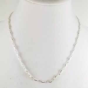 """Sterling 20"""" Filigree Marquise Link Necklace 8.1g"""